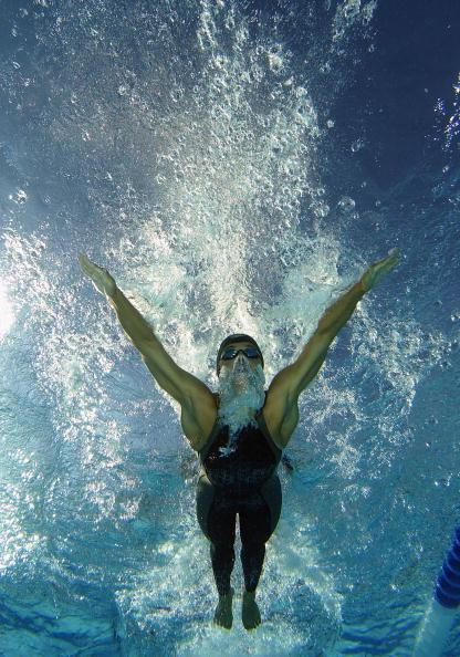 Observe swimmer from underwater